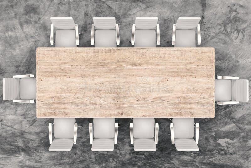 顶视图会议桌和办公室椅子 向量例证