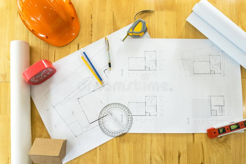 顶视图体系结构计划工作区 库存照片