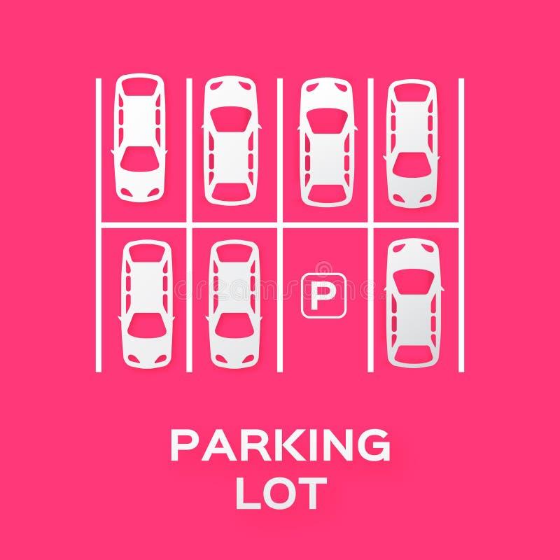 顶视图停车场 库存例证