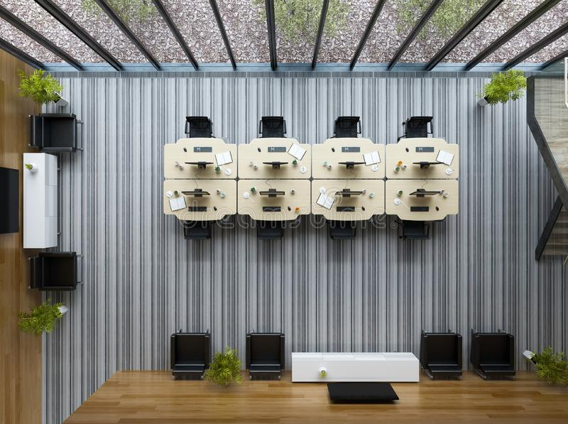 顶视图内部现代露天场所办公室3D例证 库存例证