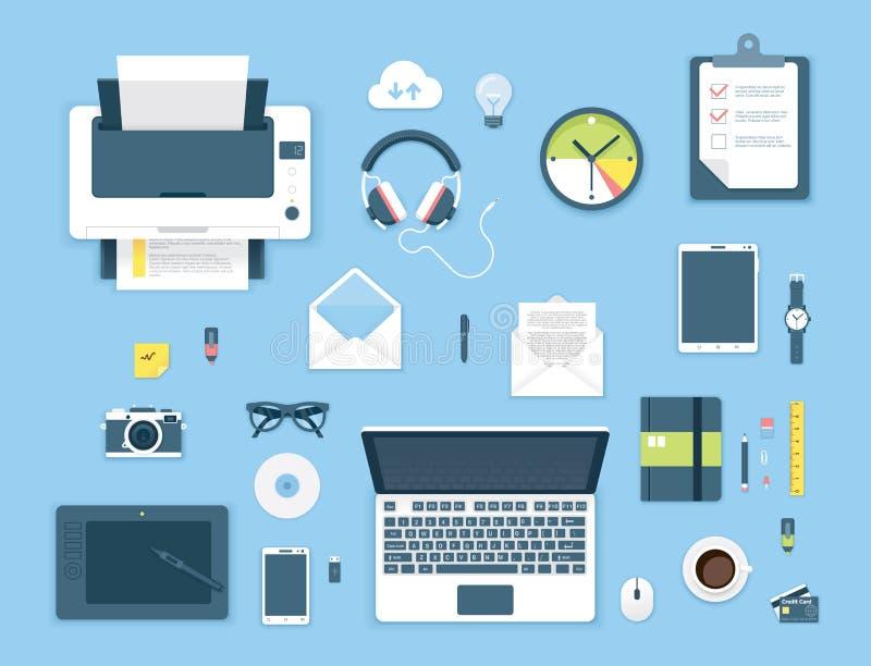顶视图办公室桌 库存例证
