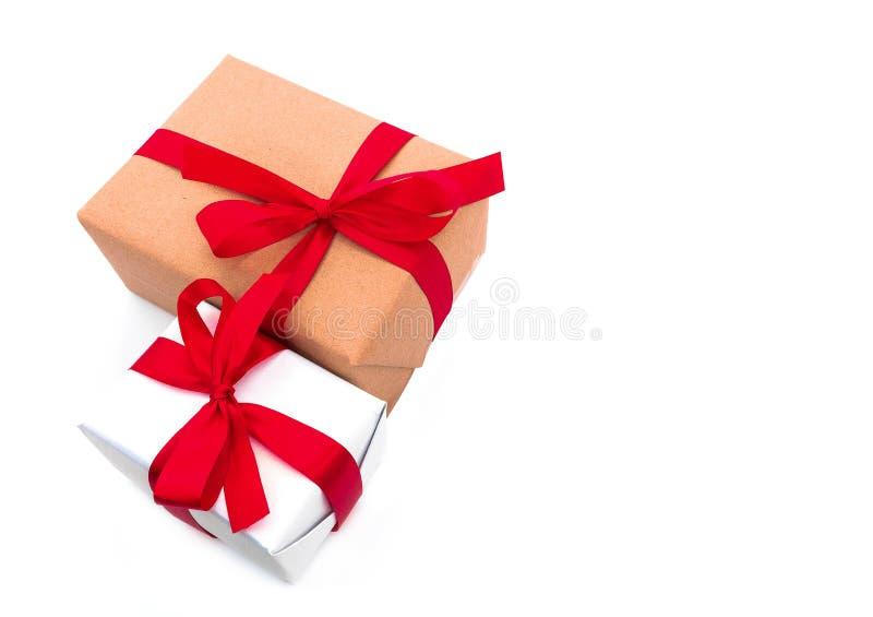 顶视图反对布朗礼物盒 库存图片