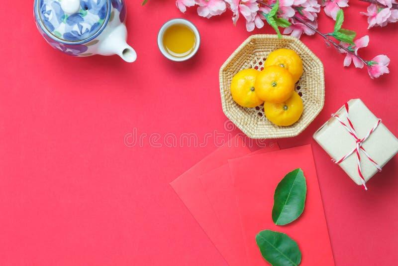 顶视图图象射击了安排装饰春节&月球假日 图库摄影