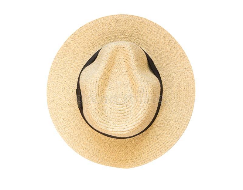 顶视图在白色背景隔绝的巴拿马草帽 库存图片