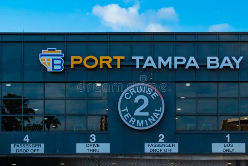 顶视图巡航终端2在港坦帕湾 库存照片