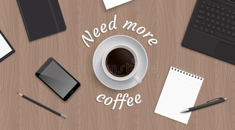 顶视图工作场所witn咖啡 皇族释放例证