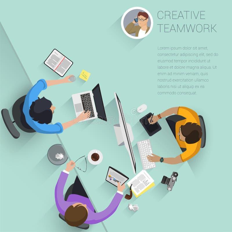 顶视图平的设计传染媒介办公室人民 向量例证