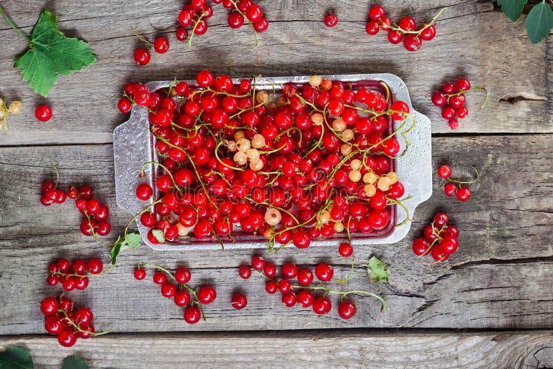 顶视图新鲜的红色当前莓果用水在土气木桌上的金属盘子滴下 夏天vegitarian饮食 农夫h 库存图片