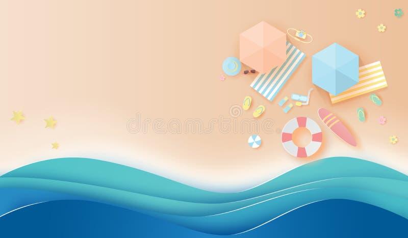 顶视图旅行夏季beac纸艺术和工艺样式  皇族释放例证