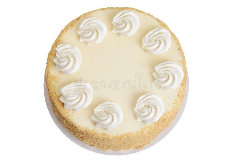 顶视图曲奇饼与结霜的碎屑蛋糕 免版税库存照片