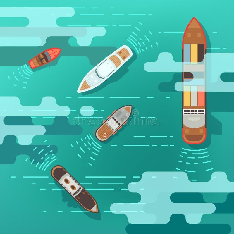 顶视图海船和运输小船在海洋浇灌表面传染媒介例证 库存例证
