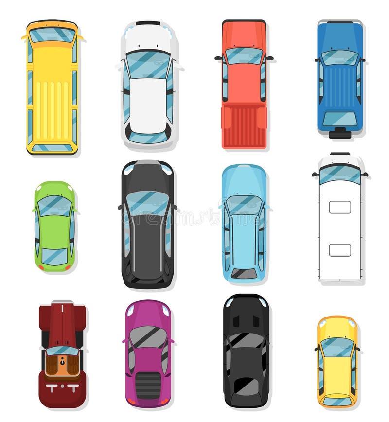 顶视图现代城市汽车被隔绝的传染媒介集合 库存例证