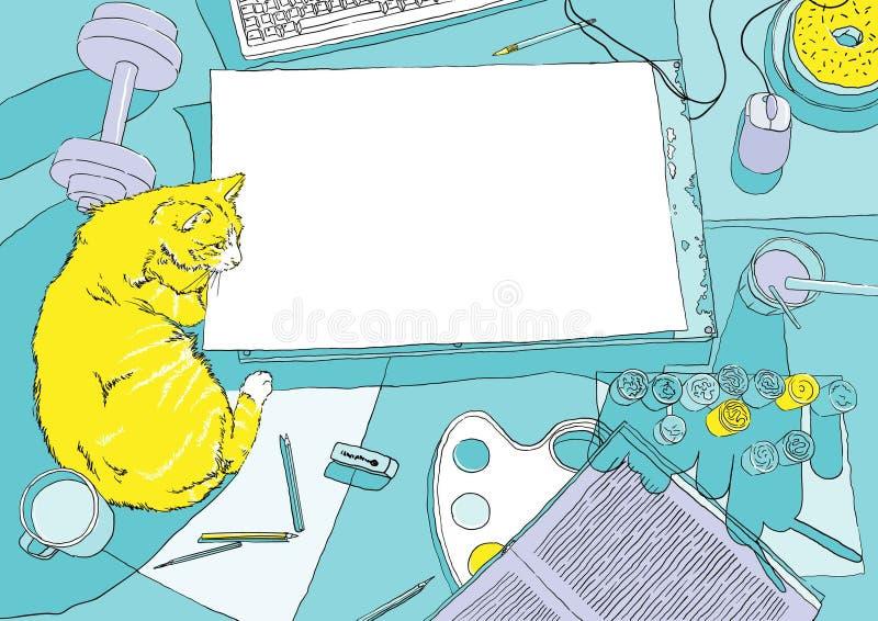顶视图的画家工作场所与黄色猫 皇族释放例证