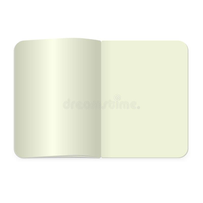 顶视图笔记薄模板 导航现实空白的杂志或书在白色背景传播了 皇族释放例证