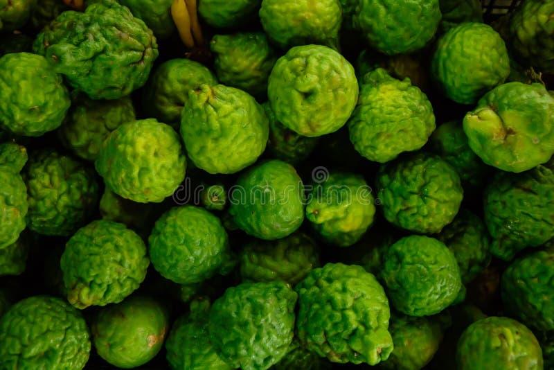 顶视图绿色香柠檬样式 库存照片