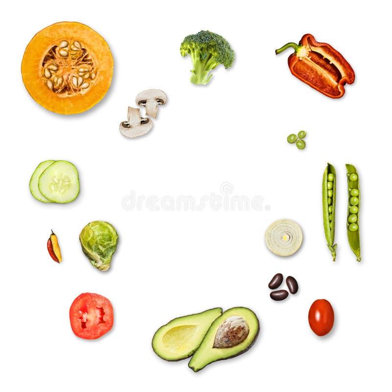 顶视图菜,白色背景 库存图片