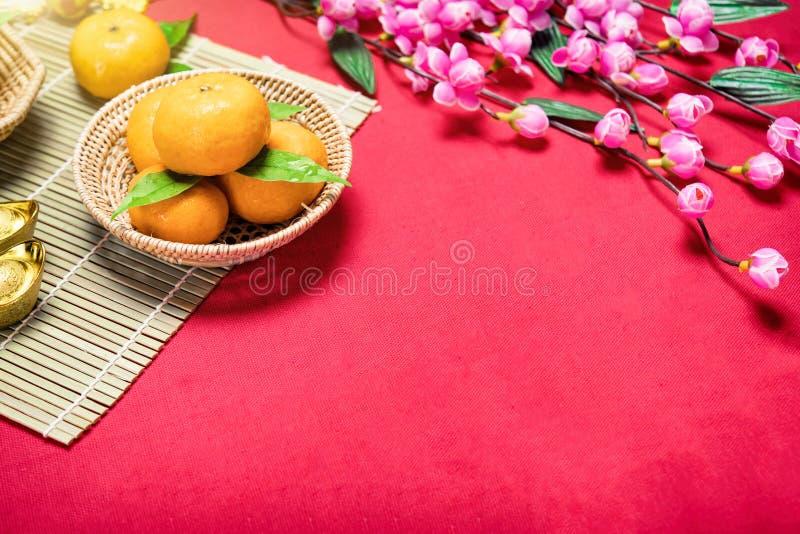顶视图辅助部件春节节日,叶子,木篮子, 免版税库存图片