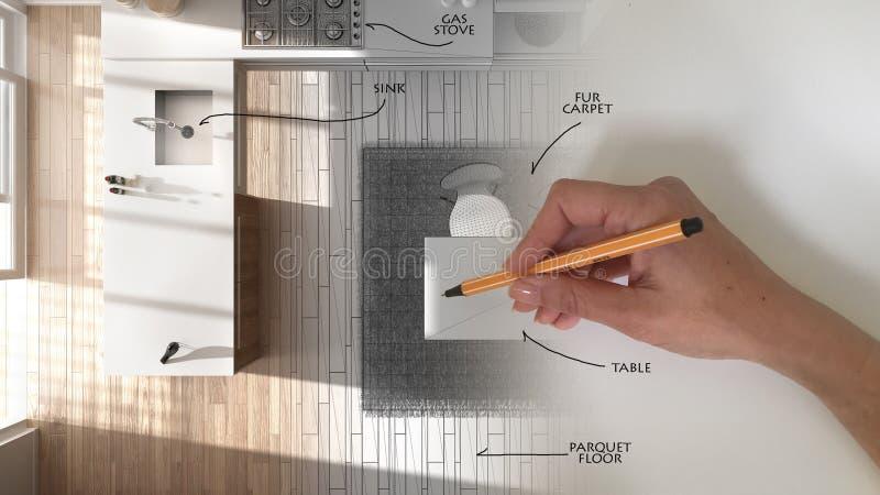 顶视图,建筑师室内设计师概念:当空间成为关于时,递得出设计内部项目和写笔记 免版税库存图片