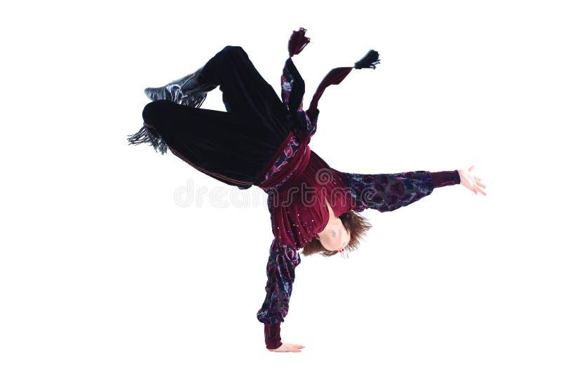顶视图 男性舞蹈家在一个吉普赛舞蹈独奏执行 库存照片