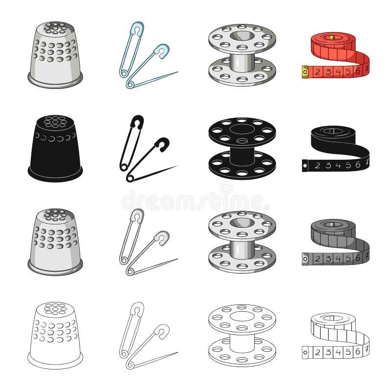 顶针、金属、别针和其他网象在动画片样式 车间,剪裁,在集合汇集的产业象 库存例证