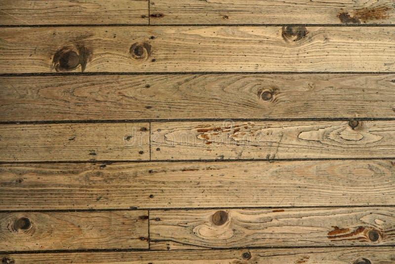 顶面下来视图-老木地板纹理,瓦片巩固了与钉子 免版税库存图片