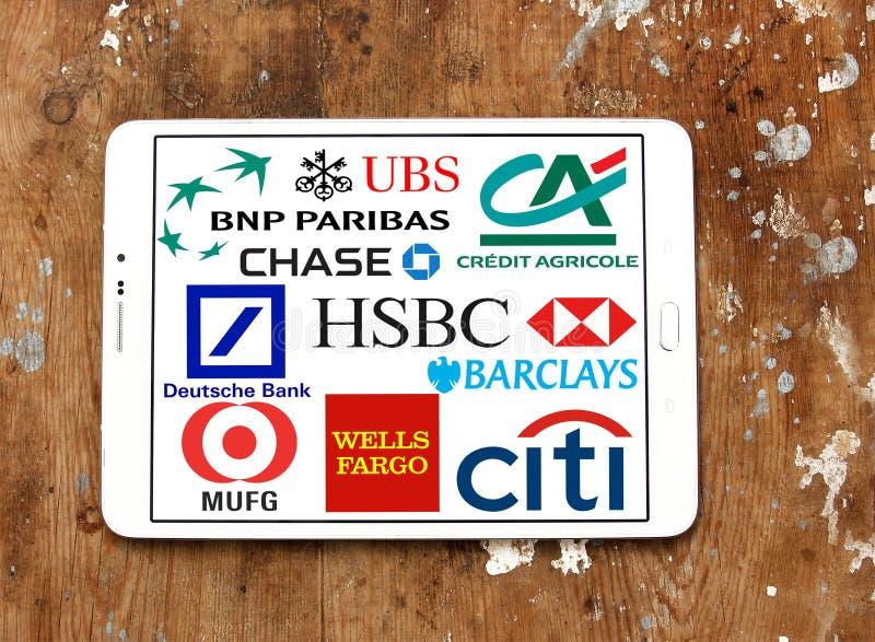 顶面全球性银行象和商标 库存照片