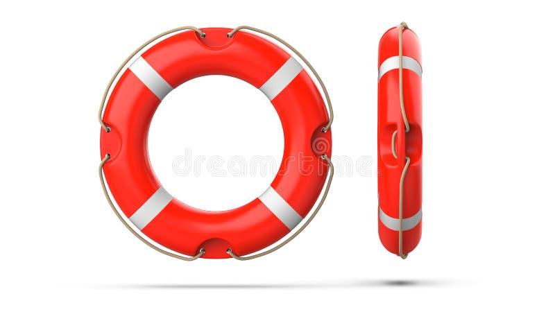顶面和侧视图lifebuoy,隔绝在与阴影的白色背景 3d翻译套两红色救生圈浮体 向量例证