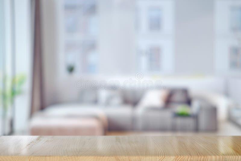 顶面桌在客厅 库存图片