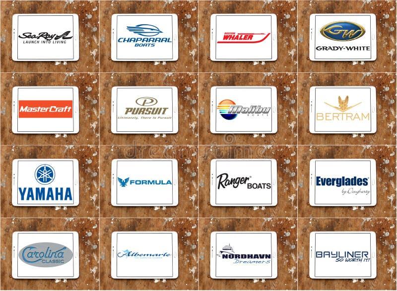 顶面著名小船和游艇品牌和商标 库存例证