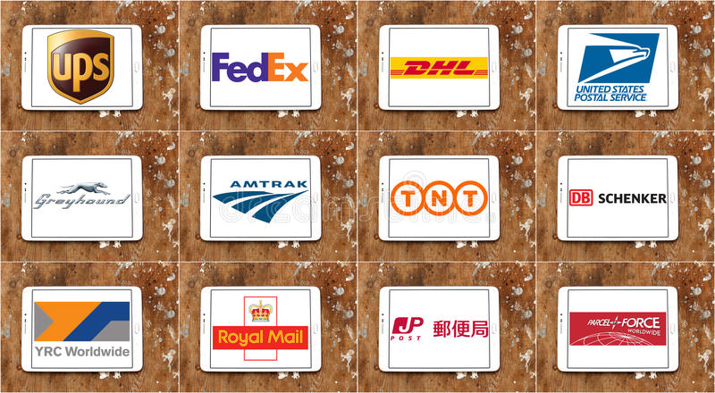顶面著名邮政运输公司商标和传染媒介 免版税图库摄影