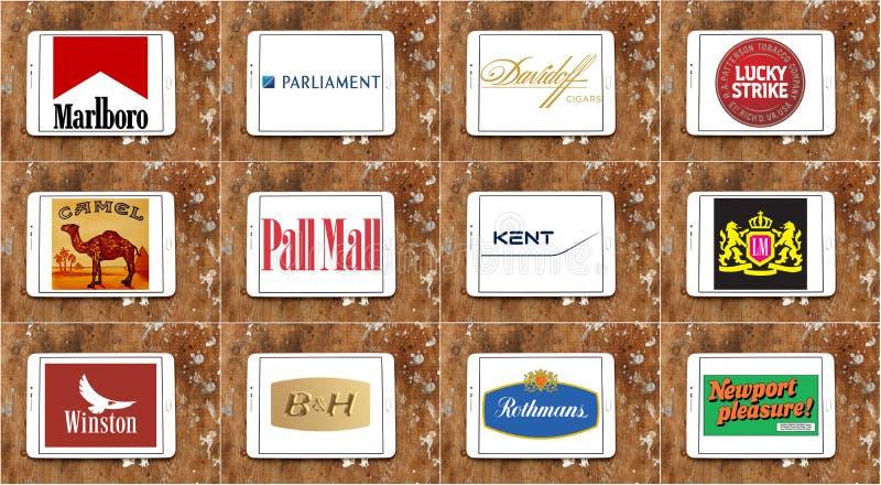 顶面著名香烟品牌和商标 库存例证