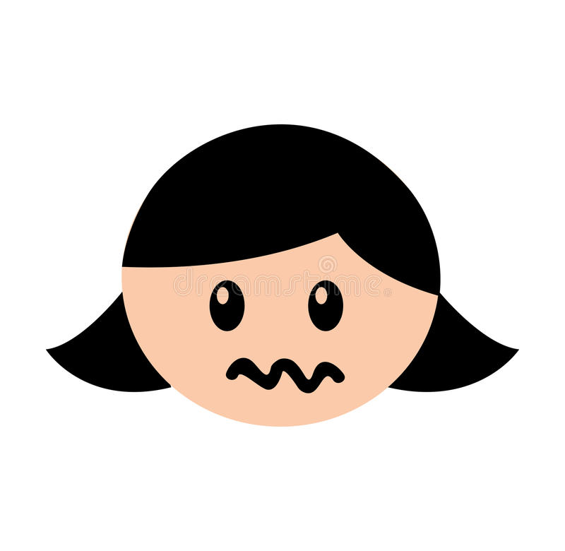顶头女孩恼怒的表示 皇族释放例证