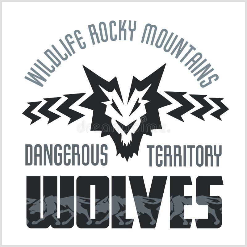 顶头狼-北美洲装饰样式 皇族释放例证