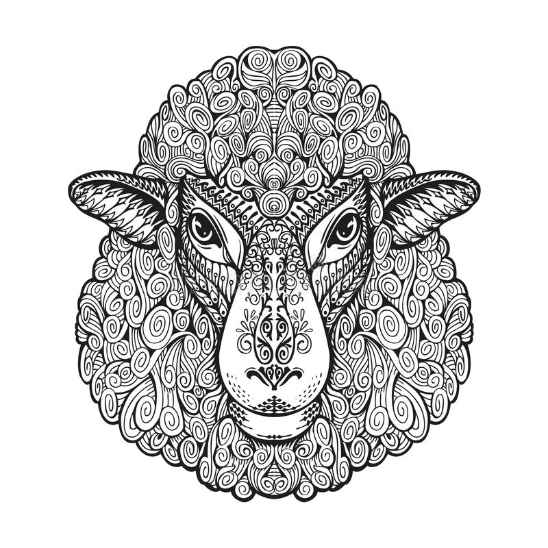 顶头绵羊 种族模式 与花卉元素的手拉的传染媒介例证 羊羔,动物标志 向量例证