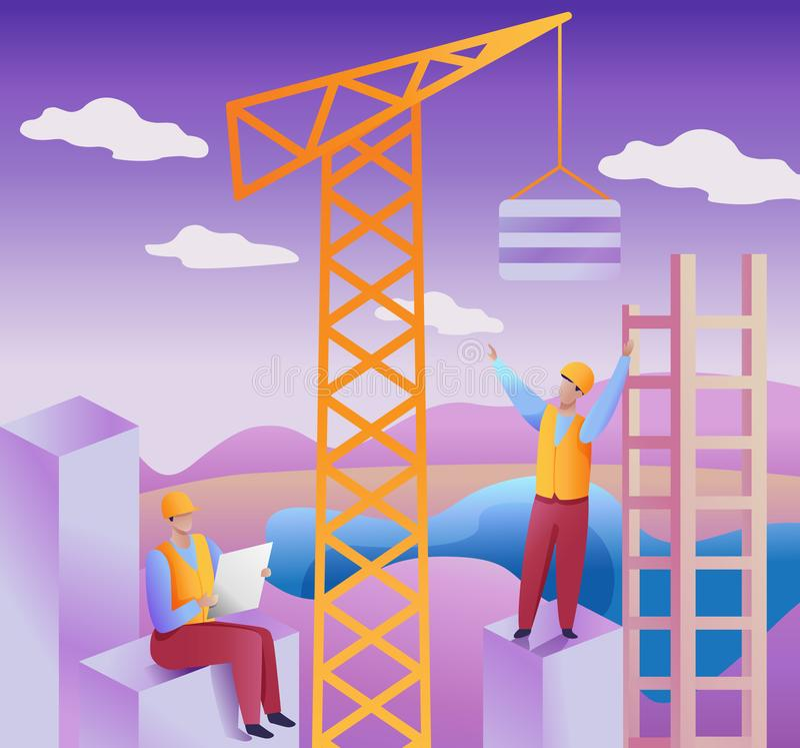 项目和建筑管理概念 平的传染媒介例证 在设施的建筑队建设中 皇族释放例证