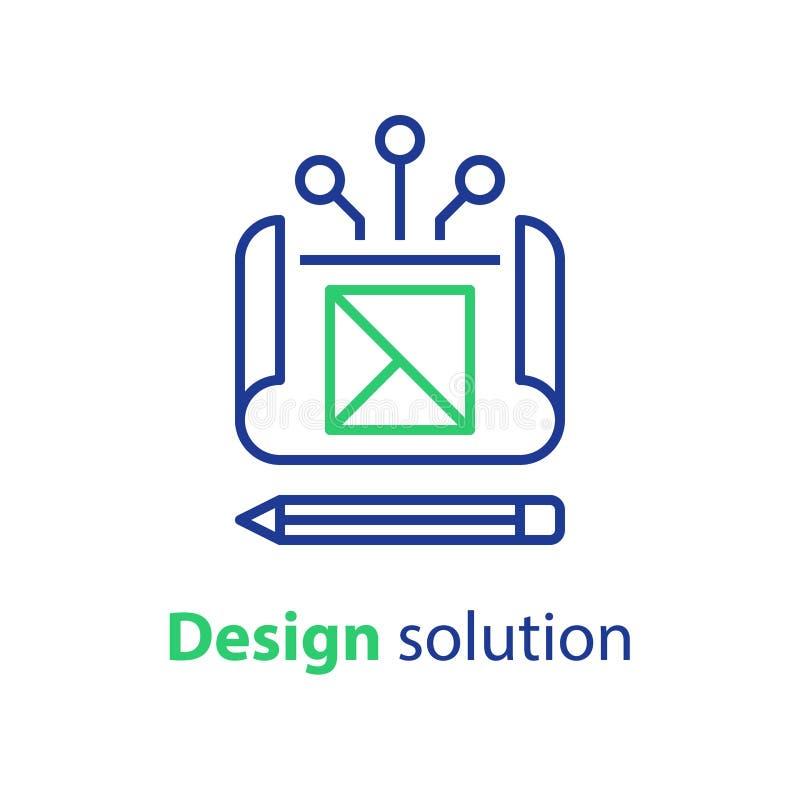 项目图纸、设计解答、工程学和发展,技术任务 皇族释放例证