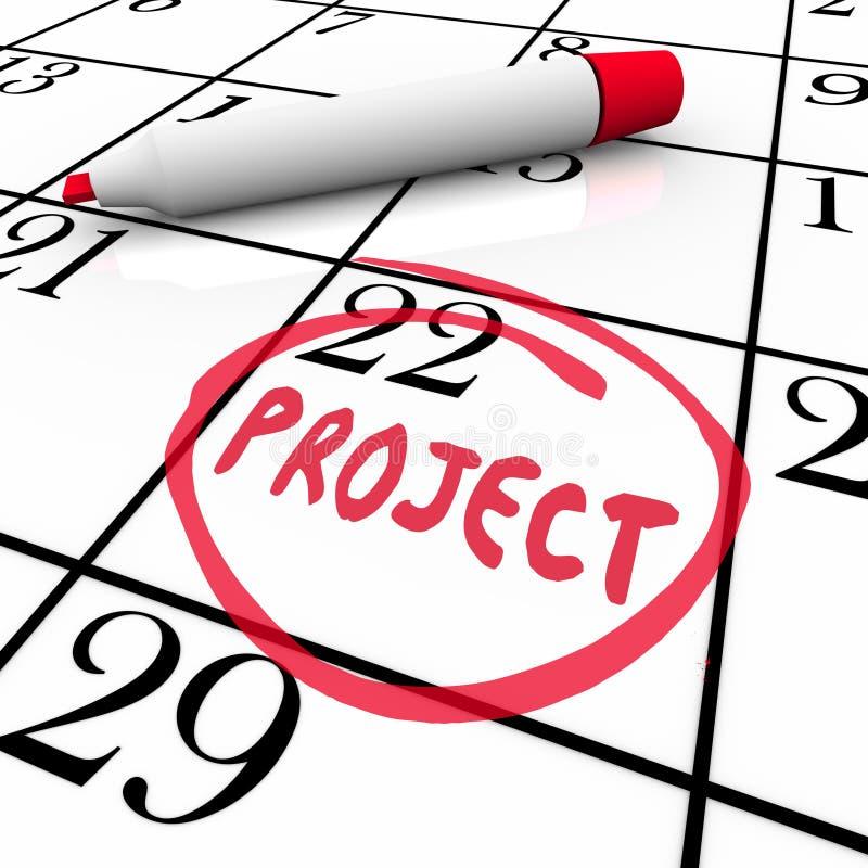 项目在日历盘旋的起动或完成日期 向量例证