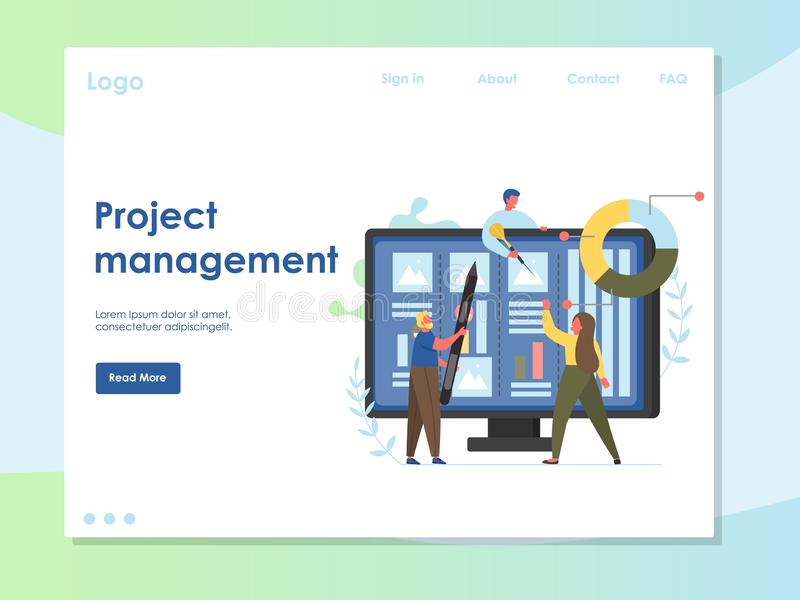 项目管理传染媒介网站着陆页设计模板 皇族释放例证