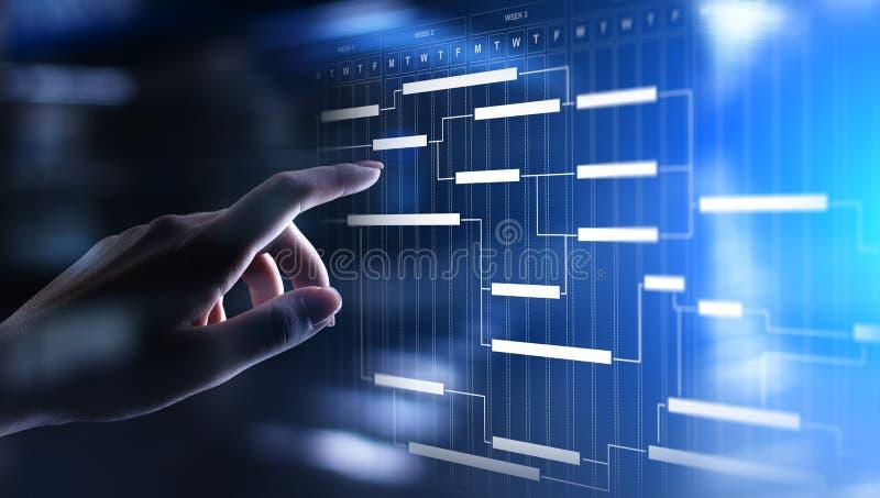 项目管理在虚屏上的图、时间管理、企业和技术概念 向量例证