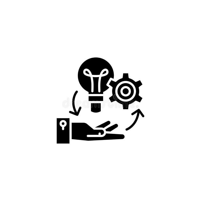 项目管理黑色象概念 项目管理平的传染媒介标志,标志,例证 皇族释放例证