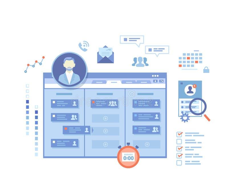项目管理,公司处理的,队控制,经理,任务的有效的发行,计划应用服务 库存例证