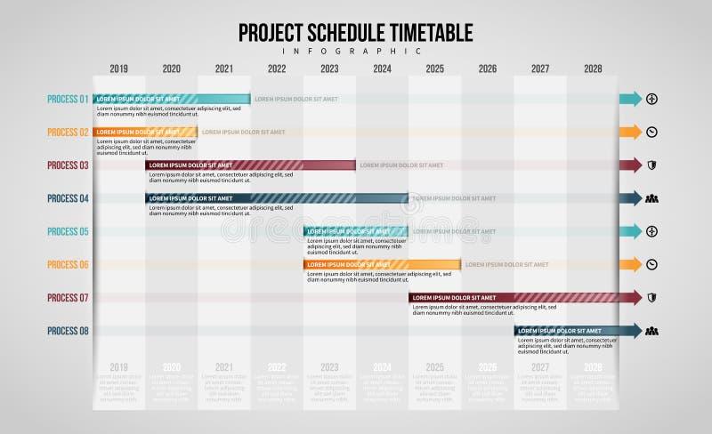项目进度时间表Infographic 皇族释放例证