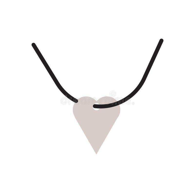 项链在白色背景隔绝的象传染媒介,项链标志,历史石器时期标志 向量例证