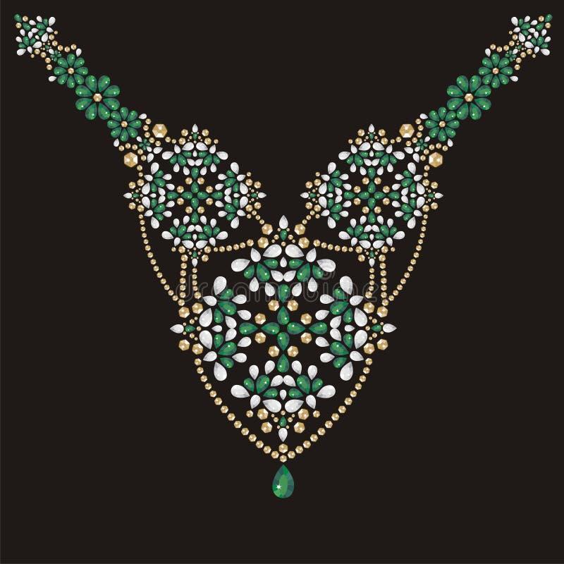 项链女性刺绣绿宝石和金假钻石,宝石,宝石,时尚 皇族释放例证