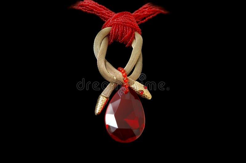 项链红色石头 库存图片