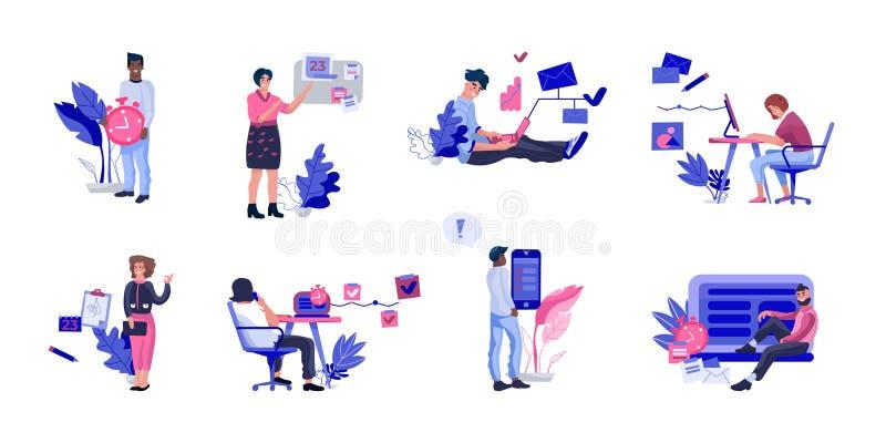 顺利地组织工作的人们 计划任命的愉快的高效率办事所工作者的汇集 r 库存例证