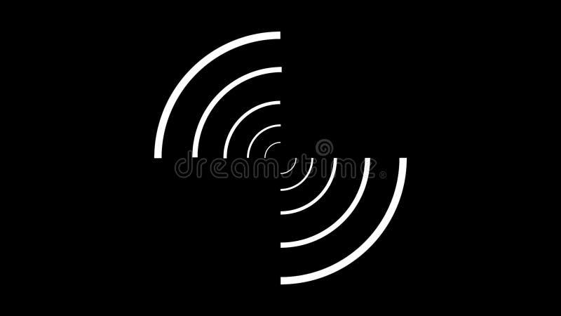 顺利地转动互相反对在黑背景的圈子的白色螺旋的抽象动画 皇族释放例证