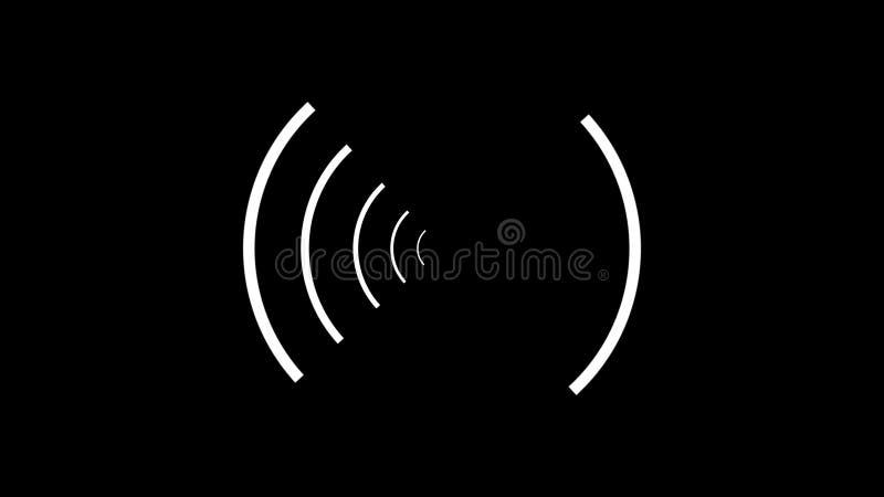 顺利地转动互相反对在黑背景的圈子的白色螺旋的抽象动画 库存例证