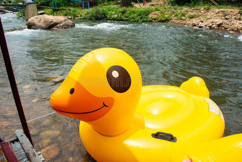 顺流荡桨的塑料鸭子气球 图库摄影