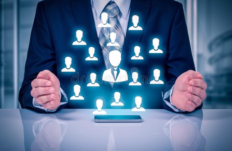 顾客关心、保险、关心雇员的,人力资源、雇佣公司和市场细分化概念 领导manag 免版税库存图片